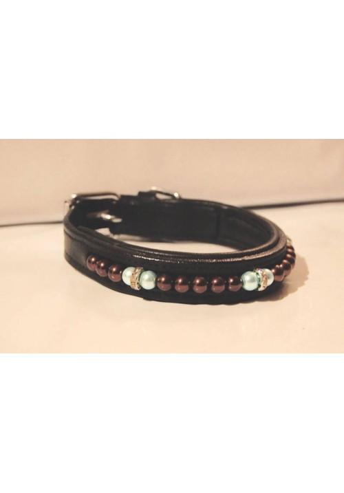 Hundhalsband med bruna/ljusblå pärlor
