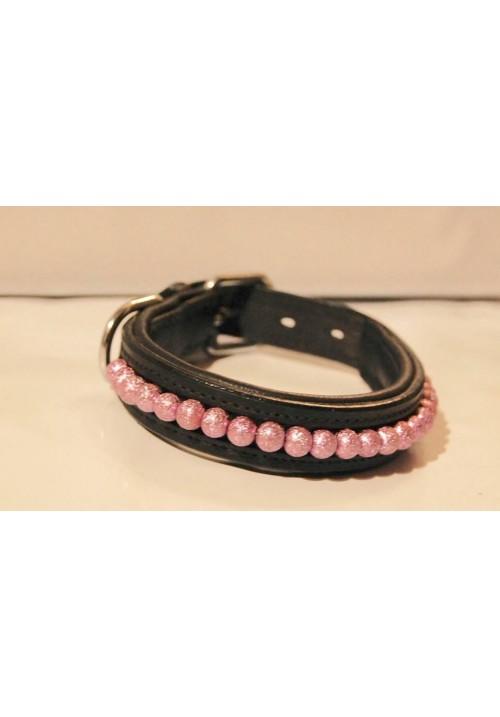 Hundhalsband med rosa pärlor