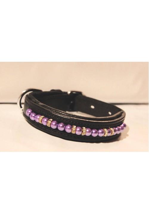 Hundhalsband lila pärlor/strass